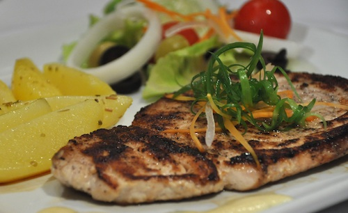 Pan seared Blue Marlin with cheesy sauce