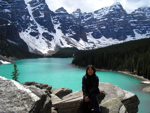 Emmie in Moraine Lake in Alberta Canada
