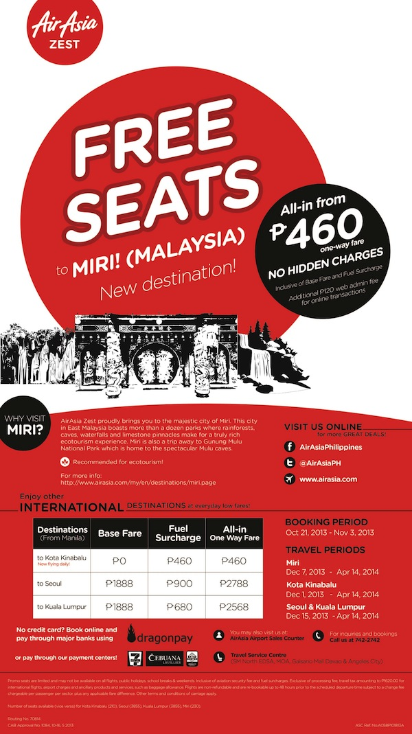 AirAsia Zest Manila to Miri Flights