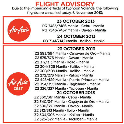 Air Asia Zest Travel Advisory