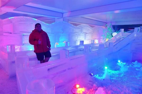 Melo Villareal beside the Giant Ice Slide