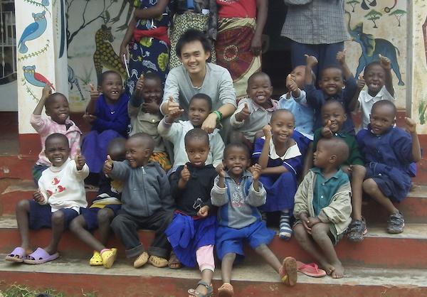 Bren and his class in Tanzania