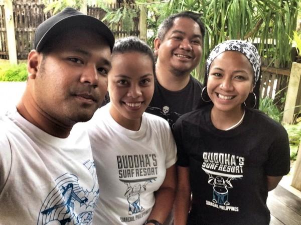 Pinoy Travel Bloggers wearing Shirts courtesy of Buddha's Surf Resort