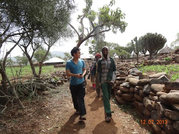 Walking through the villages in Ethiopia