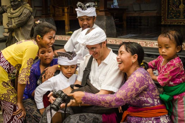 Gianni with our home stay family in Ubud Bali Indonesia