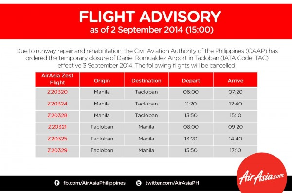 AirAsia Tacloban Flight Advisory