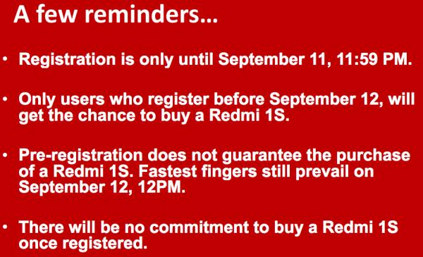 RedMi 1s Lazada Flash Sale Reminders