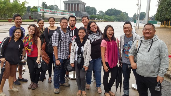 Bloggers at Ba Dinh Square in Hanoi