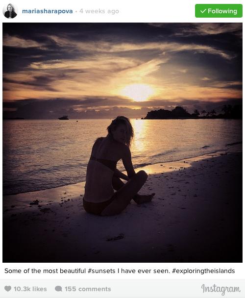 Maria Sharapova enjoying Sunset in Palawan