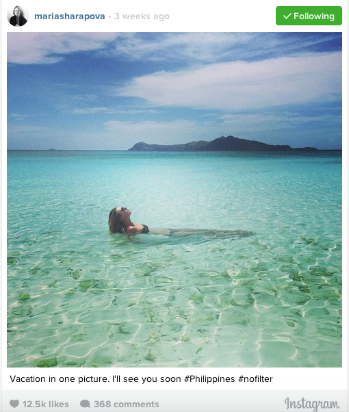 Maria Sharapova enjoying the waters of Palawan