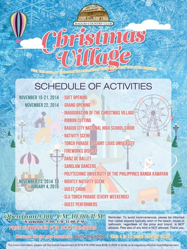 Baguio Country Club Christmas Village Schedule of Activities