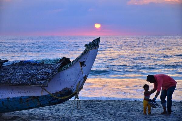 Sunset in Kovalam Beach
