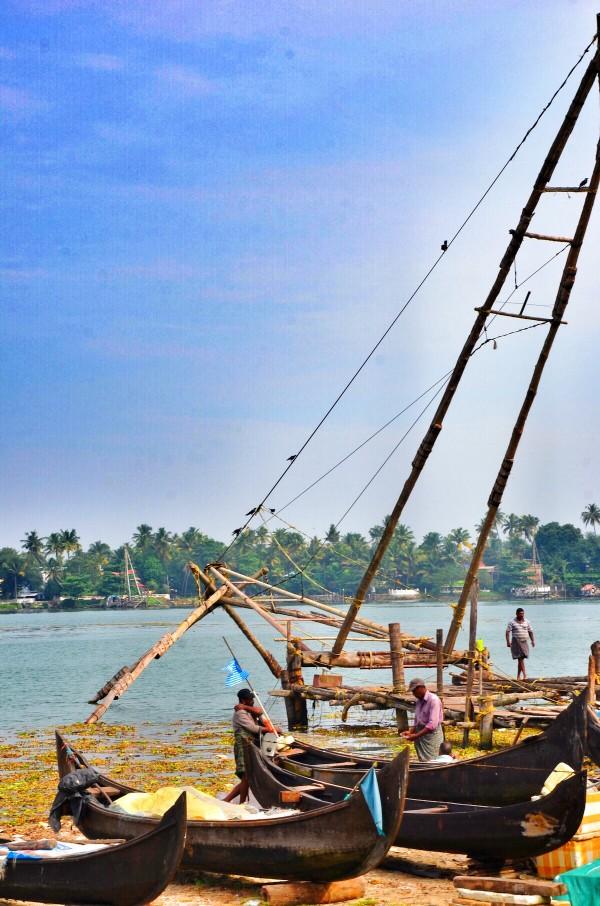 Local Fishermens using Chinese Fish Nets