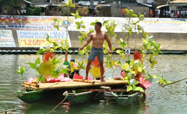 Boatman in his river float