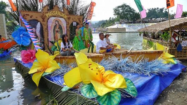 Participating river floats at Bangkero Festival Fluvial Parade