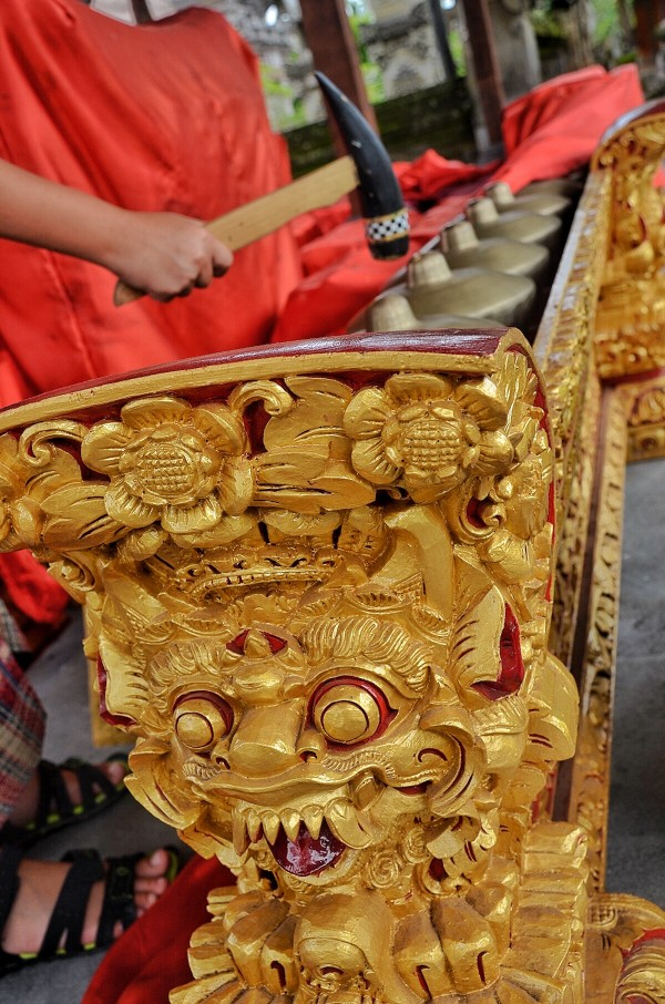 Row of brass gong percussion instrument also known as kulintang in Bali