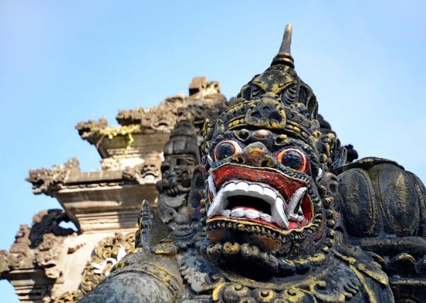 Scary Stone Barong Mask At Entrance To Tanah Lot, Bali