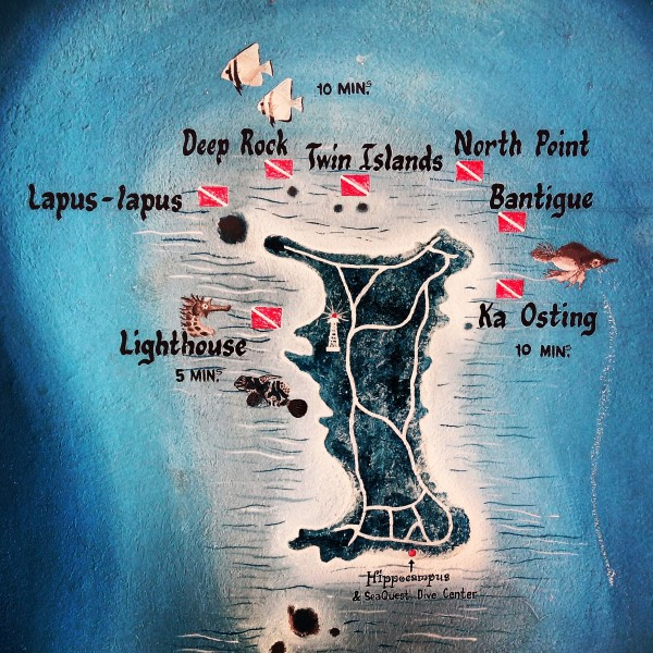 Map of Hippocampus Beach resort and Malapascua Island dive sites