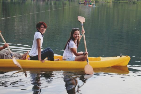 Enjoying the calm waters of Lake Danao