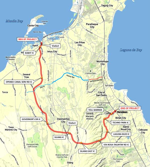 Cavite–Laguna Expressway Map Transport Infrastructure