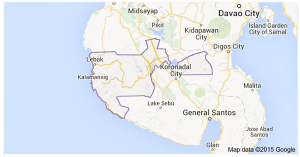 Map of Sultan Kudarat Province by Google Map