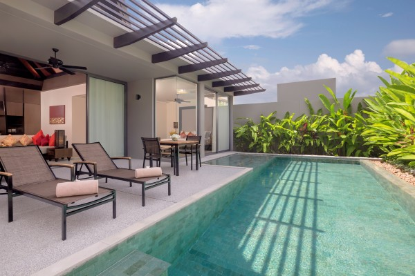 Exterior shot of the two-bedroom pool villa