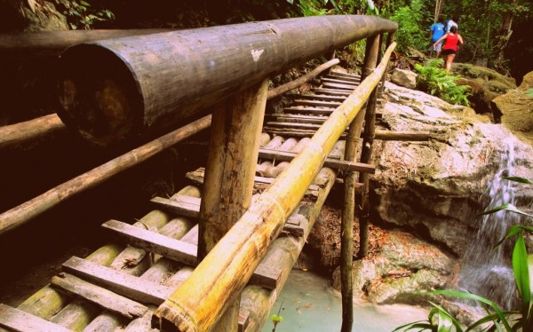 Wooden bridge along the way