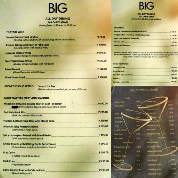 BG Restaurant Menu