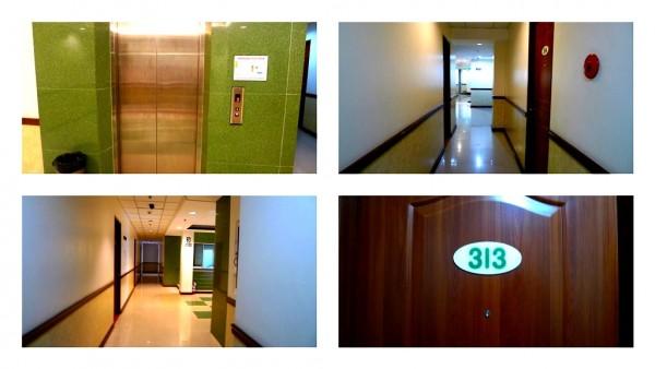 Elevator and hallway to room