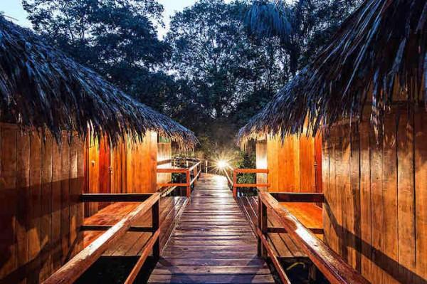 Brazilian Amazon Jungle Native Huts at Juma Lodge