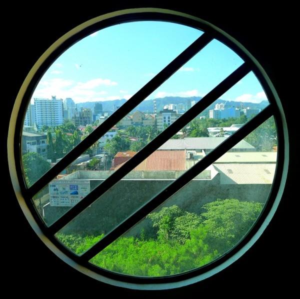 Circular window from the pool area
