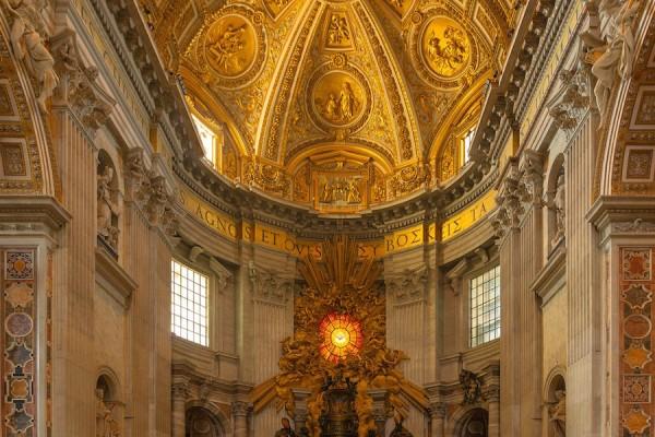 Inside St Peter Basilica in Vatican