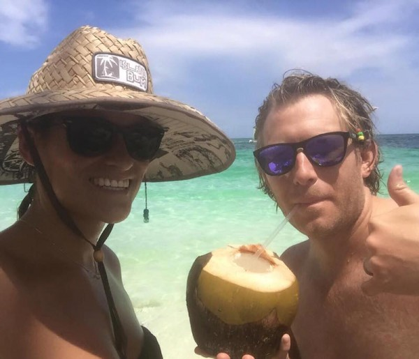 Nicola and I in Bahamas sipping on coconut