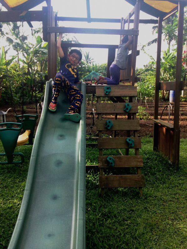 Kids get to enjoy the playground in the campsite which is surrounded by coconut trees, vegetable, herbs and flower gardens