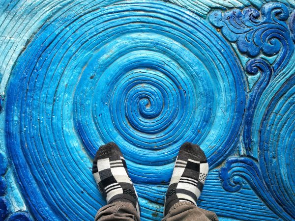 Blue colored floor at the entrance of The Silver Temple