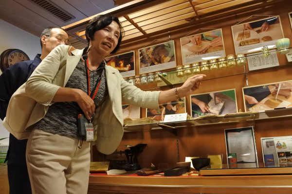 Our Tour Guide Kyomi Tsurusawa sharing the history of gold leaf production