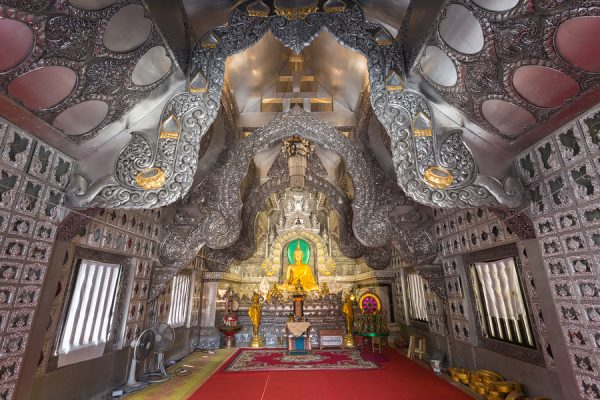The first temple in the world made with silver and aluminium metal carving