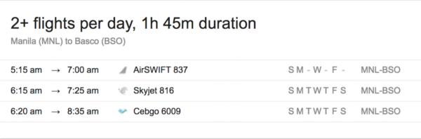Batanes Flight Schedule