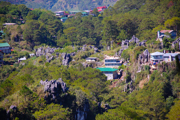 View of a Rocky Hill from Echo Valley Sagada