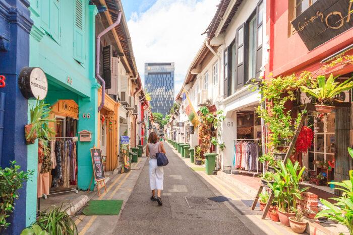 Singapores Kampong Glam Arab Quarter famous for shopscafes and restaurants.