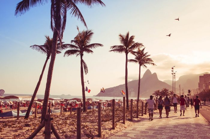 Sunset in Copacabana Beach