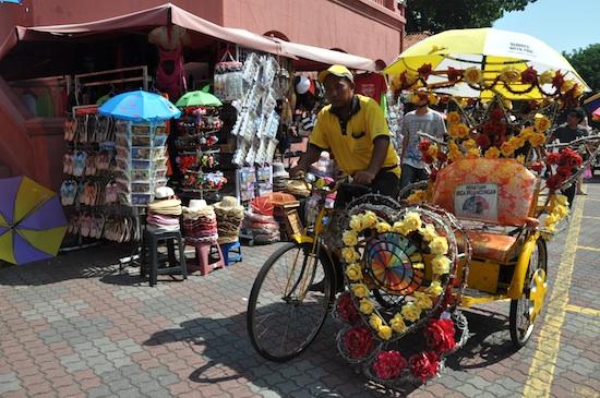 Flower-bedecked trishaws