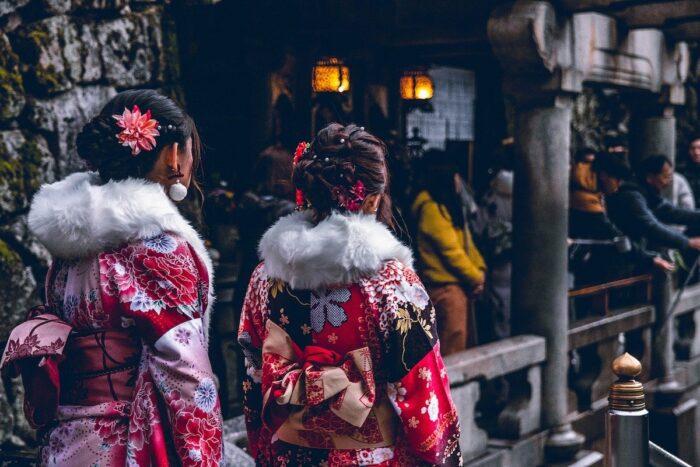 Japanese Girls in Winter Kimono