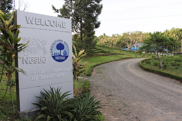 Nescafe Davao Day1- Signage on the road to the Nestle facility where free workshops are conducted for coffee farming and production.