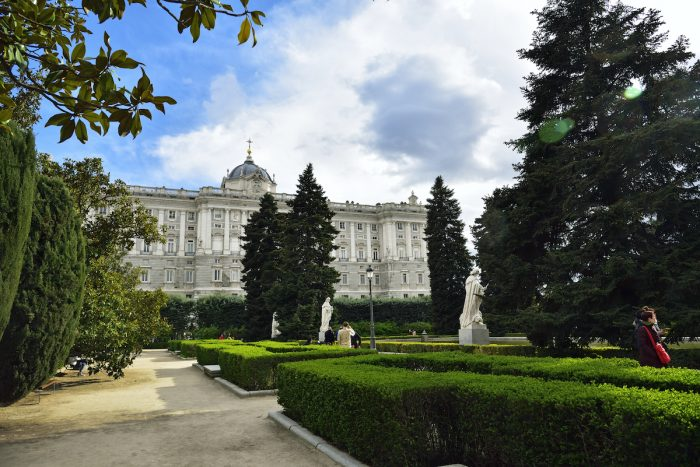 The Sabatini Gardens (Jardines de Sabatini), opened to the public by King Juan Carlos I in 1978 in honor to the italian architect Francesco Sabatini, are part of the Royal Palace in Madrid, Spain. photo via DepositPhotos