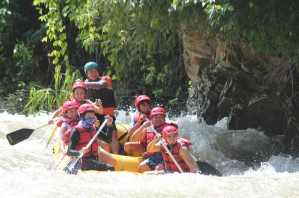 Braving the rapids at the Kiulu River