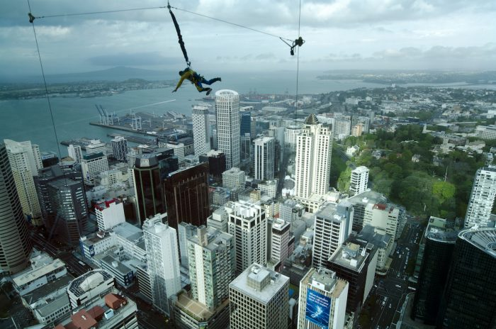 Bungee jump from the Sky Tower in Auckland New Zealand photo via Depositphotos