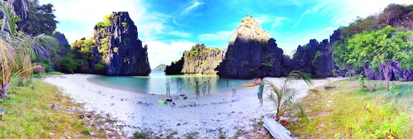 Panoramic View of Hidden Beach in El Nido