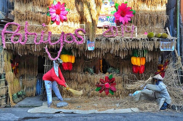 Replica of Farmers at one of the Decorated houses in Lucban