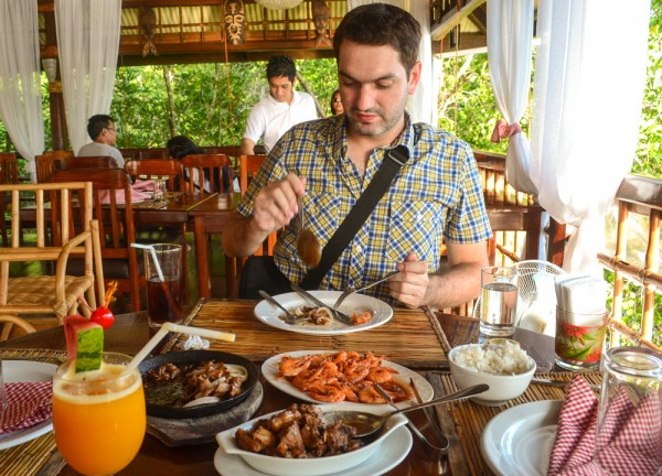 Allan Wilson enjoying Filipino Food in Palawan